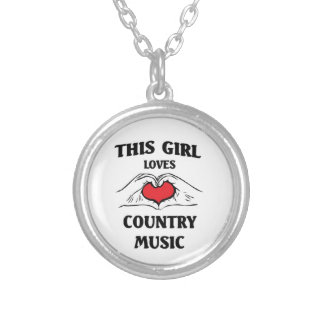 This girl loves Country Music Silver Plated Necklace