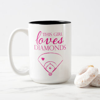 This Girl Loves Diamonds Baseball/Softball Mug