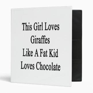 This Girl Loves Giraffes Like A Fat Kid Loves Choc Vinyl Binder