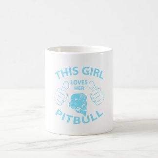 """""""This girl Loves her pitbull"""" Aqua Basic White Mug"""