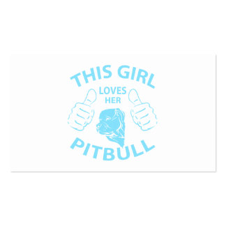 """This girl Loves her pitbull"" Aqua Business Card Templates"