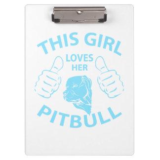 This girl Loves her pitbull Aqua Clipboards