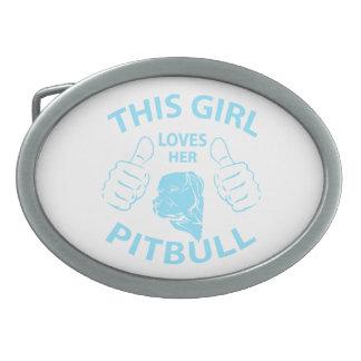 This girl Loves her pitbull Aqua Oval Belt Buckles