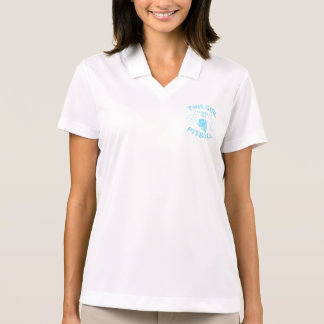 """This girl Loves her pitbull"" Aqua Polo T-shirts"