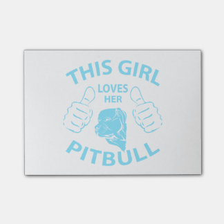 """This girl Loves her pitbull"" Aqua Sticky Notes"