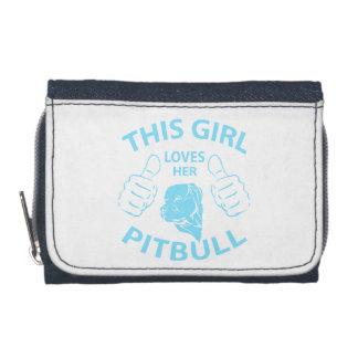 """This girl Loves her pitbull"" Aqua Wallets"