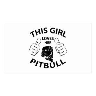 """""""This girl Loves her pitbull"""" black Business Cards"""