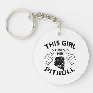 """""""This girl Loves her pitbull"""" black Keychain"""