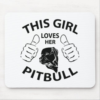 """This girl Loves her pitbull"" black Mouse Pad"