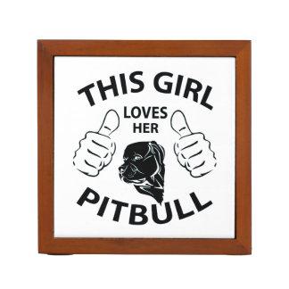 """""""This girl Loves her pitbull"""" black Pencil Holder"""