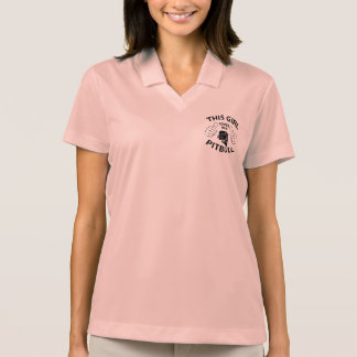 """This girl Loves her pitbull"" black Polo T-shirts"