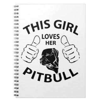 """""""This girl Loves her pitbull"""" black Spiral Notebook"""