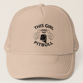 """This girl Loves her pitbull"" black Trucker Hat"