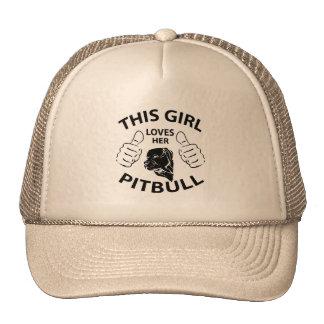 """""""This girl Loves her pitbull"""" black Trucker Hats"""