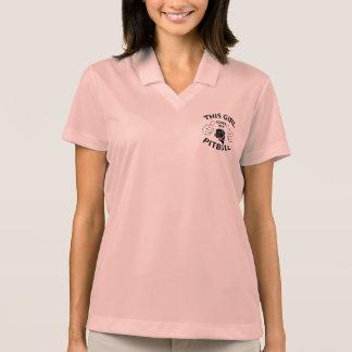 This girl Loves her pitbull black Polo T-shirts