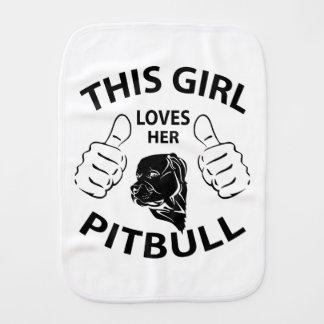 """""""This girl Loves her pitbull"""" black Baby Burp Cloths"""