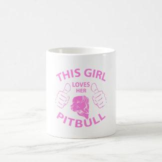 """""""This girl Loves her pitbull"""" pink Basic White Mug"""