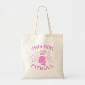 """This girl Loves her pitbull"" pink Tote Bag"