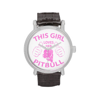 """This girl Loves her pitbull"" pink Wrist Watches"