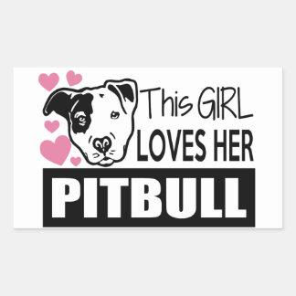 This Girl Loves Her Pitbull Rectangular Sticker