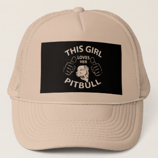 """This girl Loves her pitbull"" Trucker Hat"