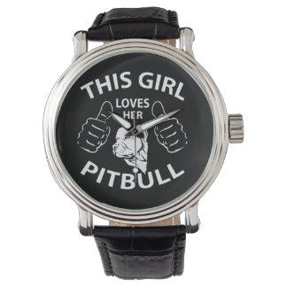 """""""This girl Loves her pitbull"""" Wrist Watches"""
