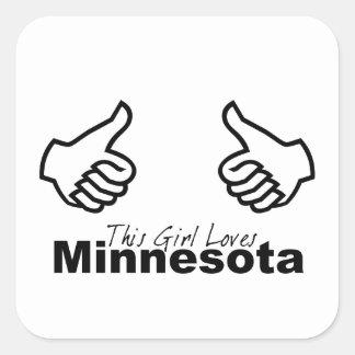 This Girl Loves Minnesota Square Sticker