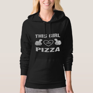 THIS GIRL LOVES PIZZA HOODED PULLOVER