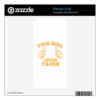 This Girl Loves Tacos Skins For The iPhone 4S