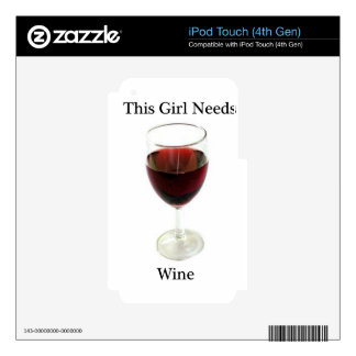 This girl needs wine iPod touch 4G decals
