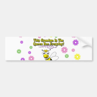 This Grandma Is The Queen Bee Everyday Bee Flowers Car Bumper Sticker