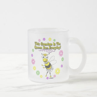 This Grandma Is The Queen Bee Everyday Bee Ring Frosted Glass Coffee Mug