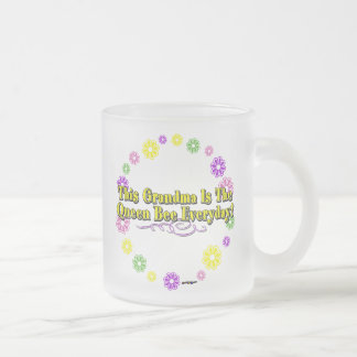 This Grandma Is The Queen Bee Everyday Flower Ring Frosted Glass Coffee Mug