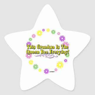 This Grandma Is The Queen Bee Everyday Flower Ring Star Stickers