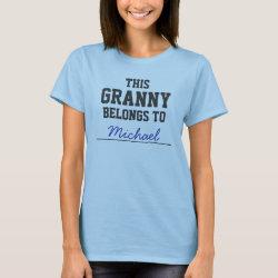 Women's Basic T-Shirt with Customizable Grandma Belongs To... design