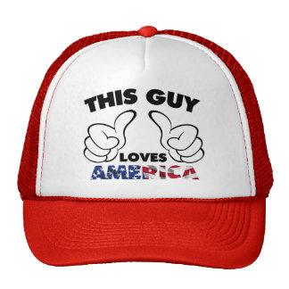 This guy loves america trucker hat