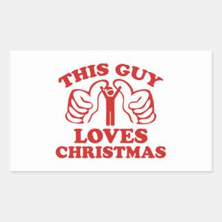 This Guy Loves Christmas Rectangular Sticker