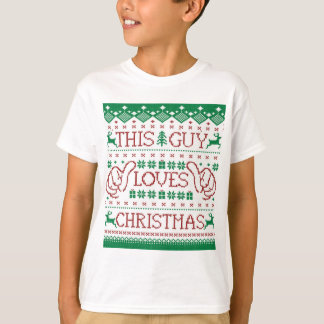 This Guy Loves Christmas Ugly Sweater Youth Shirt