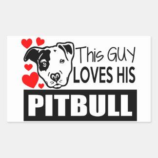 This Guy Loves His Pitbull Rectangular Sticker