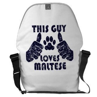 This Guy Loves Maltese Messenger Bags
