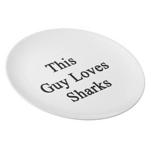 This Guy Loves Sharks Plate