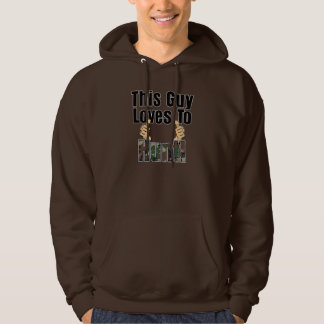 This Guy Loves To Hunt Camo Thumbs Up Mens Hoodie