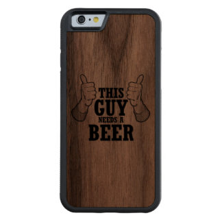 This Guy needs a beer - Holiday Humor Carved® Walnut iPhone 6 Bumper Case