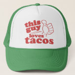 """This Guy or Girl Loves Tacos Trucker Hat<br><div class=""""desc"""">This Guy / Girl Loves Tacos t shirts &amp; gifts</div>"""