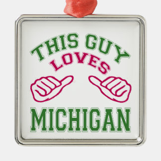 This Guys Loves Michigan. Christmas Ornaments