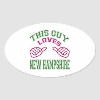 This Guys Loves New Hampshire. Oval Sticker