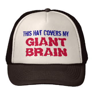 This Hat Covers My GIANT BRAIN Trucker Hat (Brown)