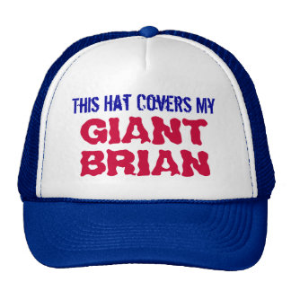 This Hat Covers My GIANT BRIAN Trucker Hat (Blue)