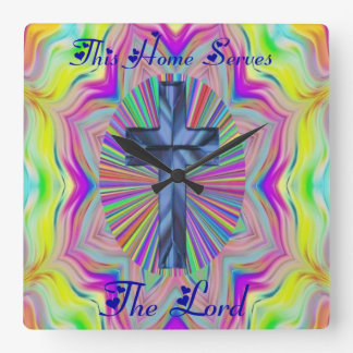 this home serves the lord square wall clock
