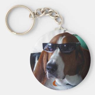 This hound dog is one kool kat basic round button keychain